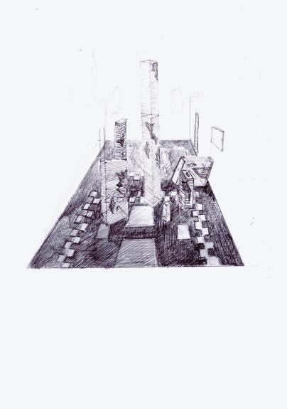 Studie voor de opstelling van een schilderkunstige installatie in een kapel, zwarte balpen op papier, 29,7cm x 21cm, 2010