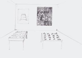 Studie voor een installatie met twee schilderijen, zwarte balpen en waterverf op papier, 21cm x 29,7cm, 2010