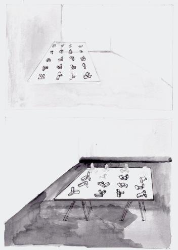 Studie voor een installatie, zwarte balpen en waterverf op papier, 29,7cm x 21cm, 2010