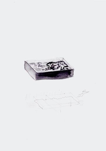 studie naar een zwembad, zwarte balpen en waterverf op papier, 29,7cm x 21cm, 2010