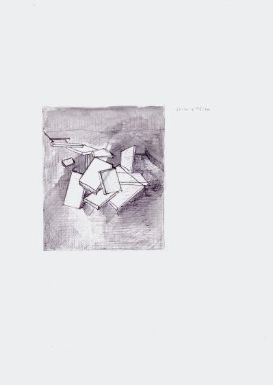 Studie voor een schilderij, zwarte balpen en waterverf op papier, 29,7cm x 21cm, 2010