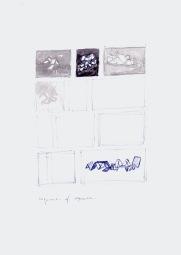Sequenties van sequenties, blauwe balpen en waterverf op papier, 29,7cm x 21cm, 2010