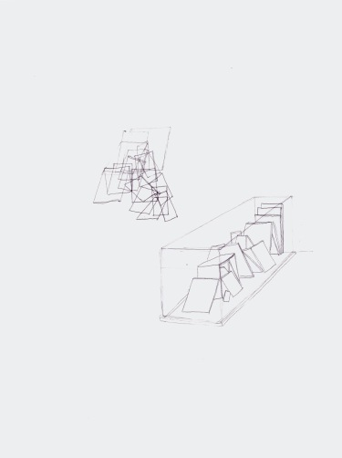 Studie voor installatie, zwarte balpen op papier, 29,7cm x 21cm, 2010