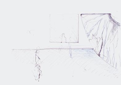 Studie voor een installatie, blauwe balpen en zwarte waterverf op papier, 21cm x 29,7cm, 2010