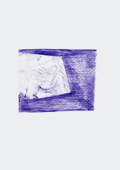 Studie voor een installatie met schilderij, blauwe balpen en zwarte balpen op papier, 29,7cm x 21cm, 2010