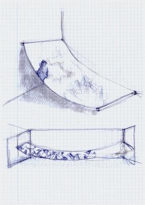 Studie voor een schilderij, blauwe balpen op papier, 29,7cm x 21cm, 2010