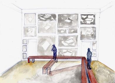 Studie voor installatie met zwembadschilderijen, zwarte balpen en waterverf op papier, 21cm x 29,7cm, 2010