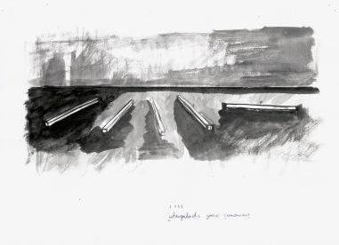 Intergalactic Space Samurais, waterverf op papier, 21cm x 29,7cm, 2010