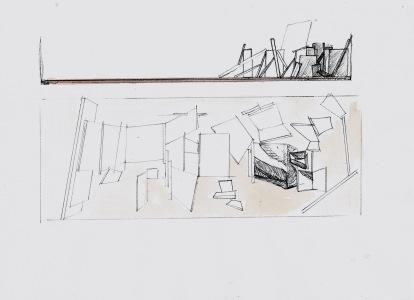 Studie voor installatie, zwarte balpen en waterverf op papier, 21cm x 29,7cm, 2010