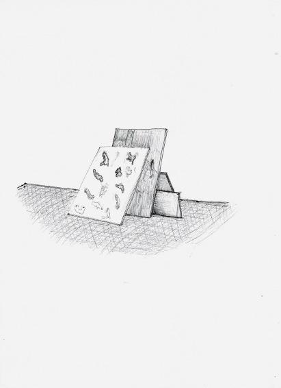 Studie voor installatie, zwarte balpen op papier, 29,7cm x 21cm, 2009