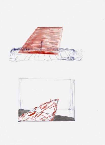 Zonder titel, blauwe balpen en waterverf op papier, 29,7cm x 21cm, 2009