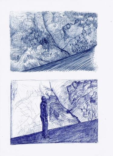 Zonder titel, blauwe balpen op papier, 29,7cm x 21cm, 2009