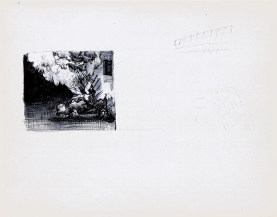 Zonder titel, zwarte balpen en waterverf op papier, 21cm x 29,7cm, 2009