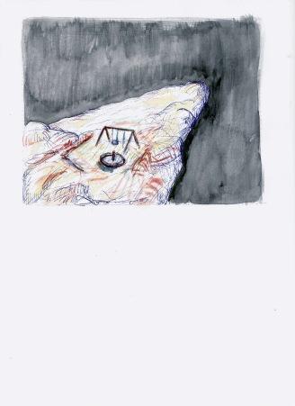 Studie voor een rots in de ruimte, waterverf op papier, 29,7cm x 21cm, 2009
