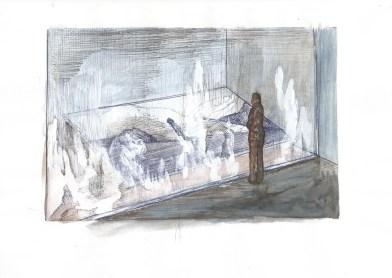 Zonder titel, balpen, waterverf en witte acrylverf op papier, 21cm x 29,7m, 2009