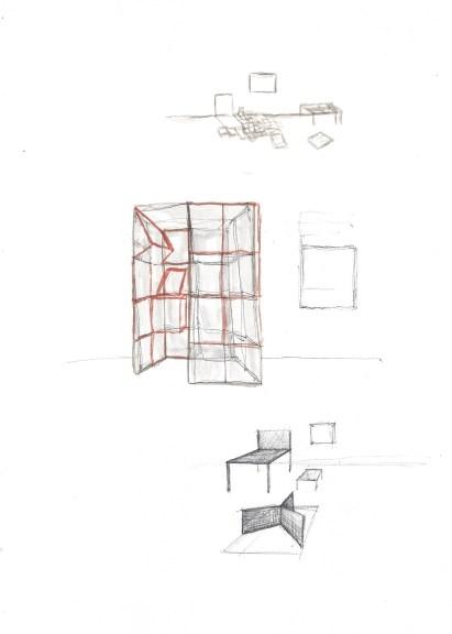 Studie voor installatie, waterverf en zwarte balpen op papier, 29,7cm x 21cm, 2009