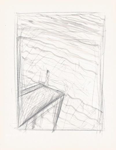 Studie voor landschap met uitkijkpost, zwart potlood en waterverf, 29,7cm x 21cm, 2009