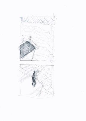 Studie voor landschap met uitkijkpost (tweeluik), zwarte en blauwe balpen op papier, 29,7cm x 21cm, 2009