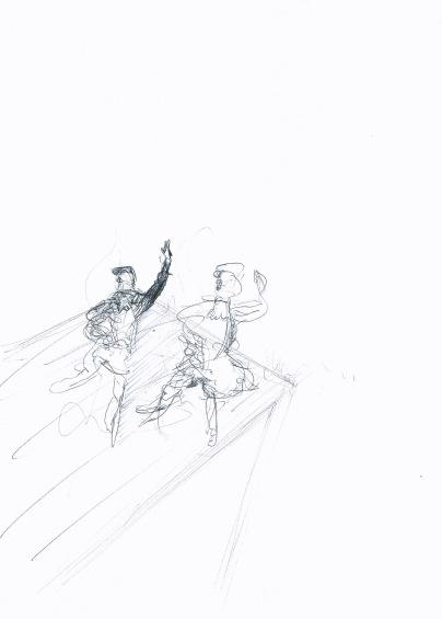 Studie voor landschap met uitkijkpost, zwarte balpen op papier, 29,7cm x 21cm, 2009