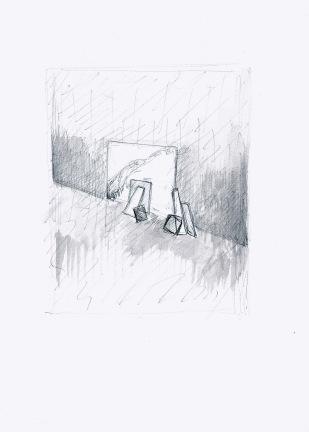 Studie voor installatie, zwarte balpen en waterverf op papier, 29,7cm x 21cm, 2009