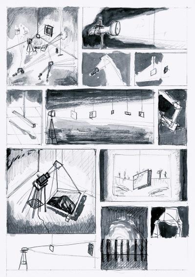 Beweging, licht en metafysica, zwarte balpen en waterverf op papier, 29,7cm x 21cm, 2010