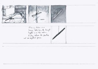 Beweging, licht en metafysica, zwarte balpen en waterverf op papier, 21cm x 29,7cm, 2010