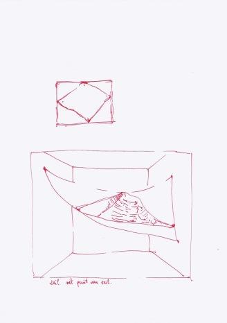 Zeil met print van een zeil in de ruimte, rode inkt op papier, 29,7cm x 21cm, 2010
