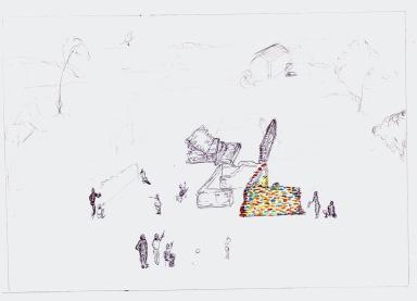 Studie voor Nomad, The Deconstruction of Place, grafiet, zwarte balpen en waterverf op papier, 21cm x 29,7cm, 2010