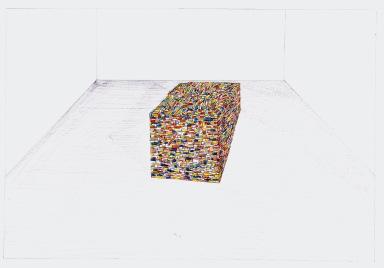 Studie voor Nomad, The Deconstruction of Place, zwarte balpen en waterverf op papier, 21cm x 29,7cm, 2010