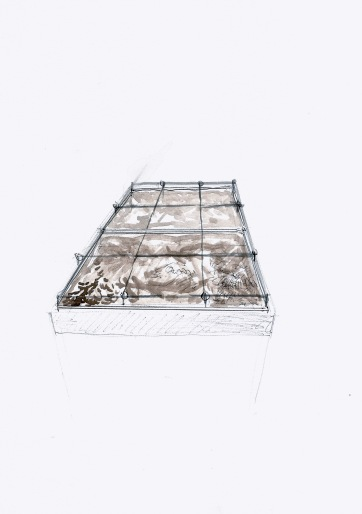Studie voor een installatie met tafel, grond en touw, 29,7cm x 21cm, 2010