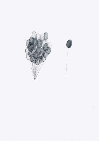Verzamelingen, waterverf en zwarte balpen op papier, 29,7cm x 21cm, 2010