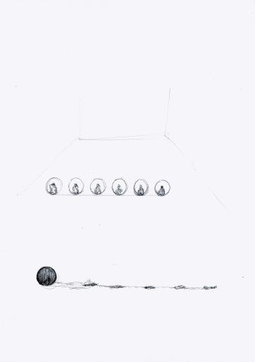 Studie voor installatie met bollen en verf, zwarte balpen op papier, 29,7cm x 21cm, 2010