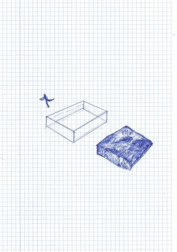 Deconstructie van een zwembad, blauwe balpen op papier, 29,7cm x 21cm, 2010