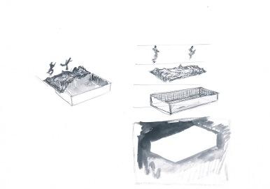 Deconstructie van een zwembad, waterverf en balpen op papier, 21cm x 29,7cm, 2010