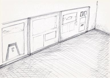 Studie voor opstelling van schilderijen, zwarte balpen op papier, 21cm x 29,7cm, 2010