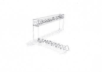 Studie voor installatie met schilderijen, zwarte balpen op papier, 21cm x 29,7cm, 2010