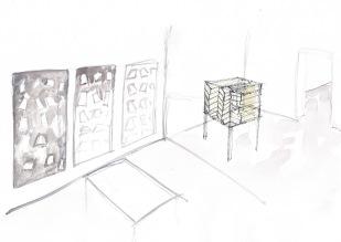Opstelling in galerie ruimte, waterverf en balpen op papier, 21cm x 29,7cm, 2010