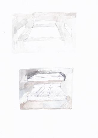 Deconstructie van een zwembad, waterverf en balpen op papier, 29,7cm x 21cm, 2010