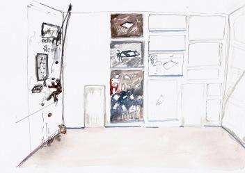 Studie voor een installatie (Living on a Vertical Plane), waterverf en balpen op papier, 21cm x 29,7cm, 2010
