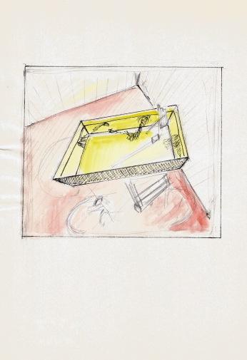 Studie voor een zwembad, grafiet, waterverf en balpen op papier, 29,7cm x 21cm, 2010