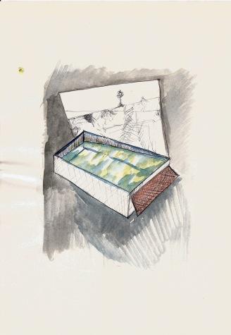 Studie voor een zwembad, waterverf en balpen op papier, 29,7cm x 21cm, 2010