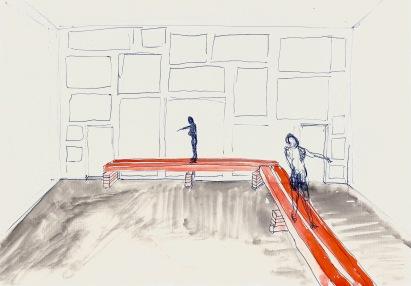 Studie voor een installatie, blauwe balpen en waterverf op papier, 21cm x 29,7cm, 2010