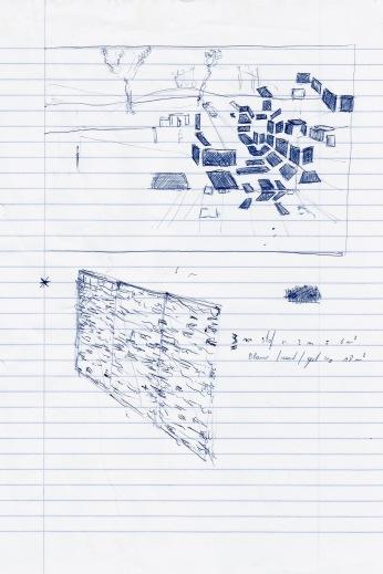 Studie voor een installatie, blauwe balpen op papier, 29,7cm x 21cm, 2010