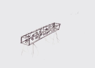 Studie voor een installatie, zwarte balpen op papier, 21cm x 29,7cm, 2010