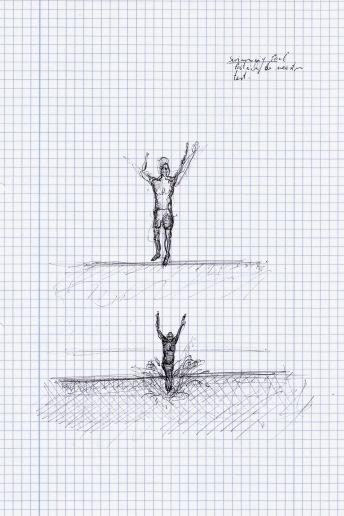 Zwembad Patrick De Meester test plons, zwarte balpen op papier, 29,7cm x 21cm, 2010