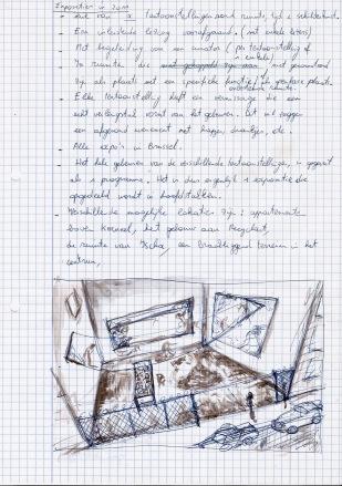 Studie voor een evenement, zwarte balpen en waterverf op papier, 29,7cm x 21cm, 2010