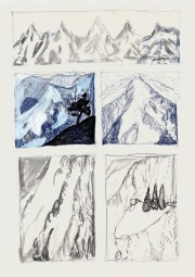 Studie voor Living On A Vertical Plane, blauwe balpen, water- en acrylverf op papier, 29, 7cm x 21cm, 2010
