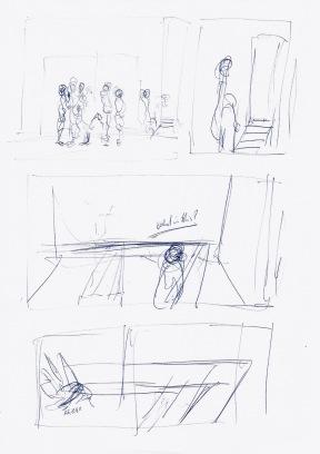 Studie voor Living On A Vertical Plane, blauwe balpen op papier, 29,7cm x 21cm, 2010