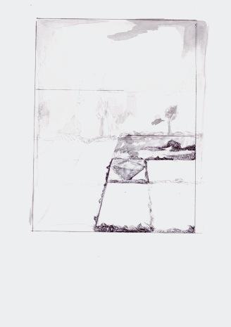 Studie naar de onderverdeling van een landschap, waterverf en zwarte balpen op papier, 29,7cm x 21cm, 2010