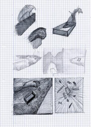 Le théatre des scizofrènes, Deconstruction of a swimming pool, grafiet en zwarte balpen op papier, 29,7cm x 21cm, 2010